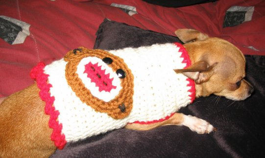 Crocheted Christmas Dog Sweater Pattern - Premier Yarns : Deborah