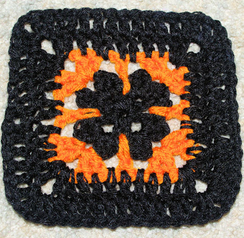 "Halloween Afghan Square (6"") Free Crochet Pattern"