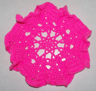Pink Ribbon Ruffled Doily Free Crochet Pattern