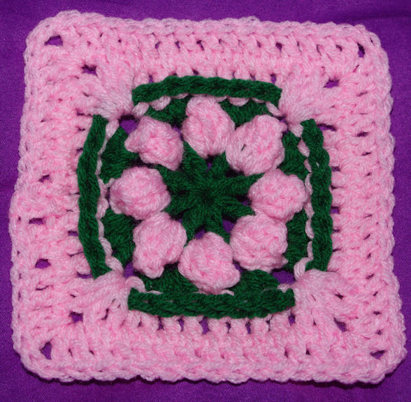 "Popcorn Petals Afghan Square (6"") Free Crochet Pattern"