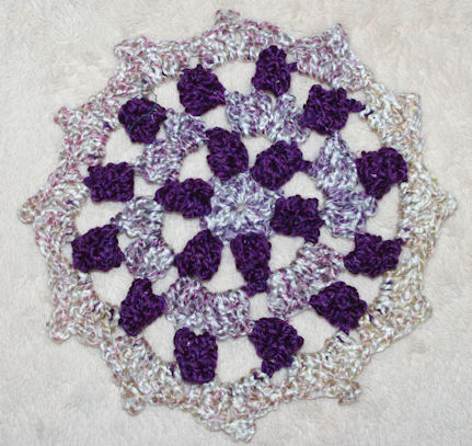 Purple Popcorn Doily Crochet Pattern