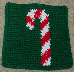 Row Count Candy Cane Afghan Square Free Crochet Pattern