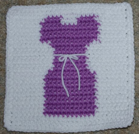 Row Count Dress Afghan Square Crochet Pattern