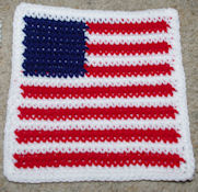Row Count Flag Afghan Square Free Crochet Pattern