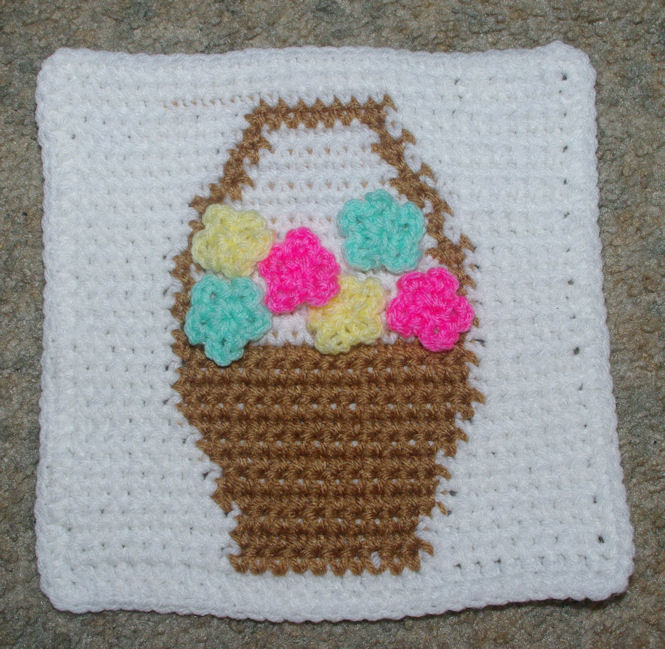 Row Count Flower Basket Afghan Square Crochet Pattern ...