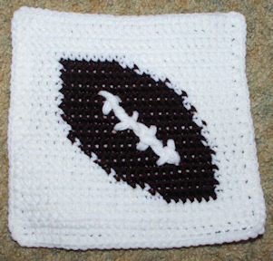 Row Count Football Afghan Square Crochet Pattern
