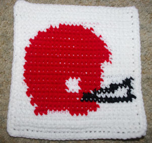 Row Count Football Helmet Afghan Square Crochet Pattern