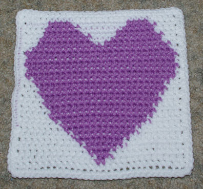Crochet Heart Afghan Pattern Free : ROW COUNT HEART AFGHAN SQUARE Crochet Pattern - Free ...