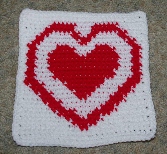 Crochet Heart Afghan Pattern Free : ROW COUNT HEART IN A HEART AFGHAN SQUARE Crochet Pattern ...