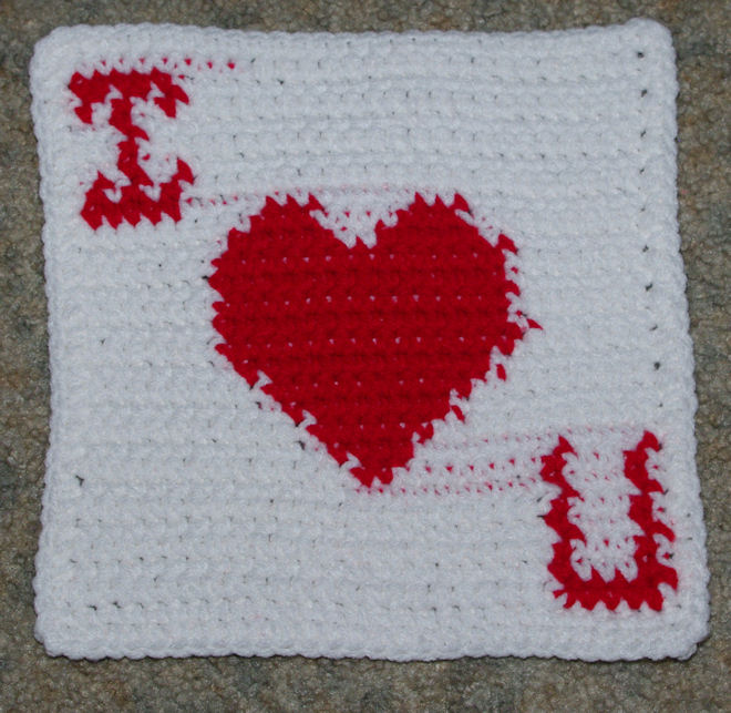 Row Count I Heart U Afghan Square Free Crochet Pattern