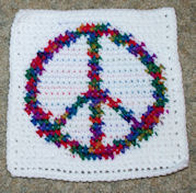 Row Count Peace Sign Afghan Square Crochet Pattern