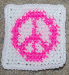 Row Count Peace Sign Coaster Free Crochet Pattern