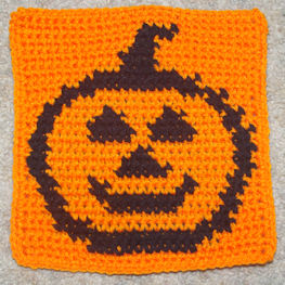 Row Count Pumpkin Afghan Square Free Crochet Pattern