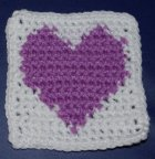 Row Count Purple Heart Coaster Crochet Pattern