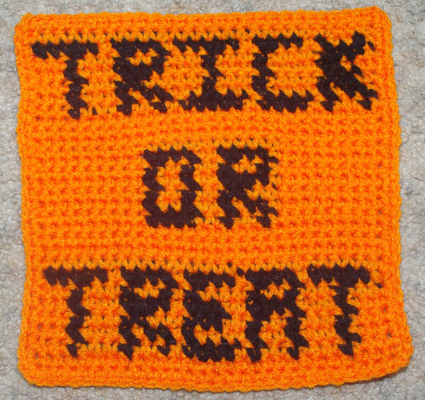 Row Count Trick or Treat Afghan Square Free Crochet Pattern