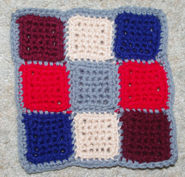 Scrap Happy Nine Patch Afghan Square Free Crochet Pattern