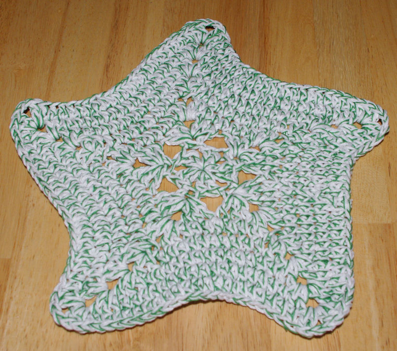 Free Crochet Star Dishcloth Pattern : Star Dishcloth Crochet Pattern - Free Crochet Pattern ...