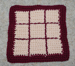 Tic Tac Toe Afghan Square - Backside